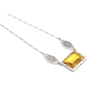 Antique Art Deco 1920s Flapper Necklace Choker Rhodium Filigree Amber Yellow Glass  Fob 15""