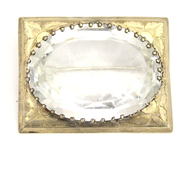 Antique Victorian Sash Pin Brooch HEAVY center Clear Glass Gold PLATED Rectangular 1 3/4""