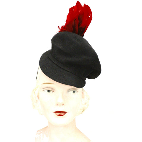 Vintage Womens Doll Hat 1930s Black Felt Fascinator Red Feather Accent WW2
