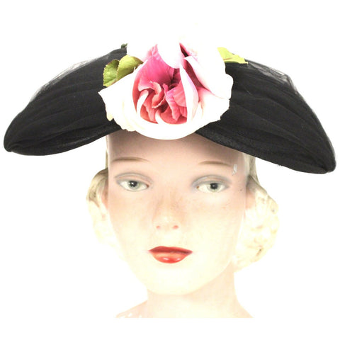 Vintage Womens Hat Modified Saucer Church Black w Rose 1950s O/S Mid-Century Wide Brim