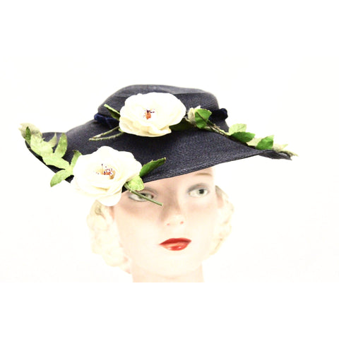 Vintage 1950s Womens Saucer Hat Wide Brim Church Dark Navy Straw Flowers O/S