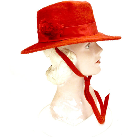 Vintage Adolfo Realites Red Fur Felt Brimmed Hat Church 1960s Chinstrap