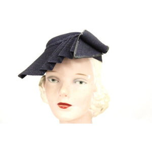 Vintage 1930s Straw Hat Asymmetrical Fan Fascinator Navy Blue Hand Blocked 22 Womens