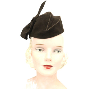 Vintage Womens Felt Hat Late 1930s Military Style Brown O/S