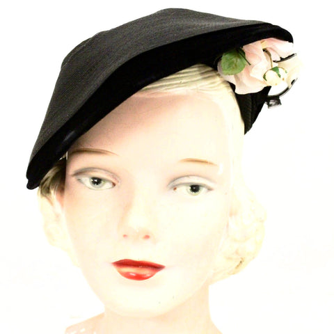 Vintage 1940s Womens Hat Black Straw Pink Rose Side Swept Asymmetrical WW2