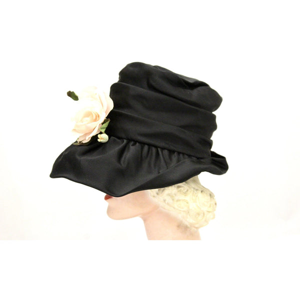 Vintage Bucket Hat Womens 1950s Saks Fifth Ave Millinery Black Satin Pink Rose Small Head