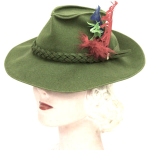 "Vintage Green Fedora Womens 1940s Fascinator 22"" Red Feathers WW2 Guernsey Pie"