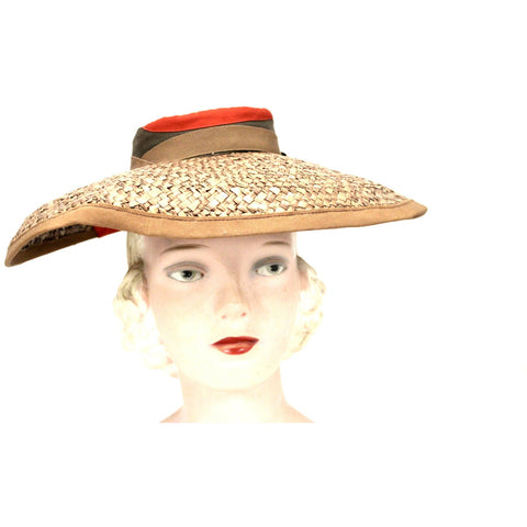 Vintage Wide Brimmed Straw Hat 1940s Brown New York Creation WW2 Guernsey Pie
