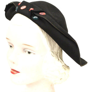 Vtg 1930s Lazarus Semi-Cloche Black Red Green Jewels Guernsey Pie