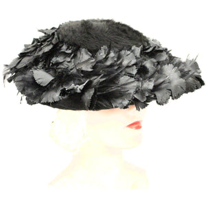 Vintage Lulila Mendez Exclusive Black Feather Saucer Hat 1950s Stunning Marvelous Maisel Church