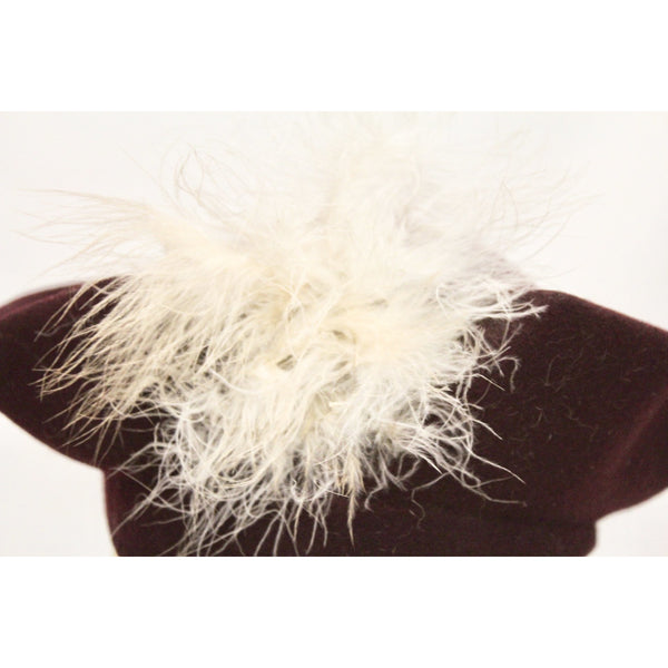 "Vintage Womens Hat 1930s Sailor Style Maroon Felt Maribou Feather 22"" Guernsey Pie"