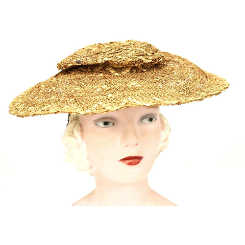 Vintage Gage Wide Brimmed Straw Hat Natural Open Weave 1930s O/S Guernsey Pie