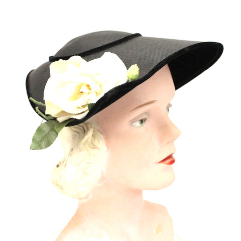 Vintage Wide Brimmed Saucer Hat Teardrop Black Straw Yellow Rose 1950s  Church Marvelous Maisel