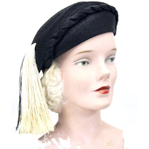 Vintage Womens 1940s Beret Cloche Fringe Detail Norman Durand Church Drama Guernsey Pie