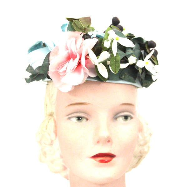 Vintage Don Anderson Womens Hat Garden Party 1940s Pillbox Blue Pink Flowers Blueberries