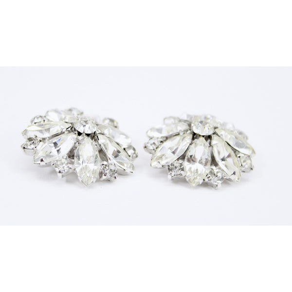 "Vtg WEISS Earrings  Marquise White RHINESTONE Flower Clip On 1.5"" Signed Octagon Round"