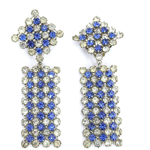 Vintage Earrings  Statement Blue Clear Stepped Rhinestones Clip Back White Metal 3.5""