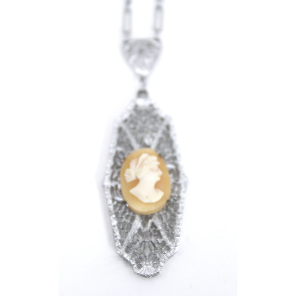 "Antique Vintage Art Deco  1920s Filigree Cameo Pendant Necklace Downton Gatsby Fancy  16"" Elongated Chain"