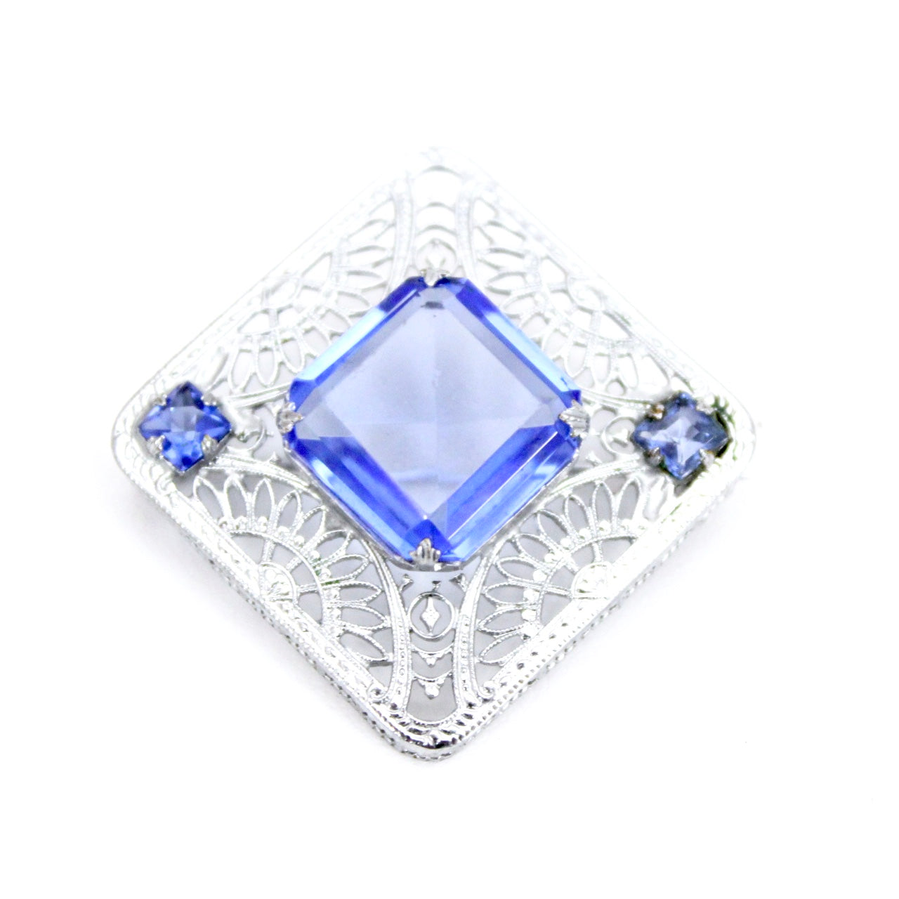 "Antique Art Deco Brooch 1920s Square Pin Blue Glass White Metal Filigree 1 3/8"" Cloche Pin"
