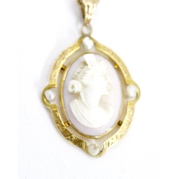 "Vintage  Shell Cameo Pearls 10K Necklace 14K Chain 16"" Dainty Small Rolo Chain 4g"