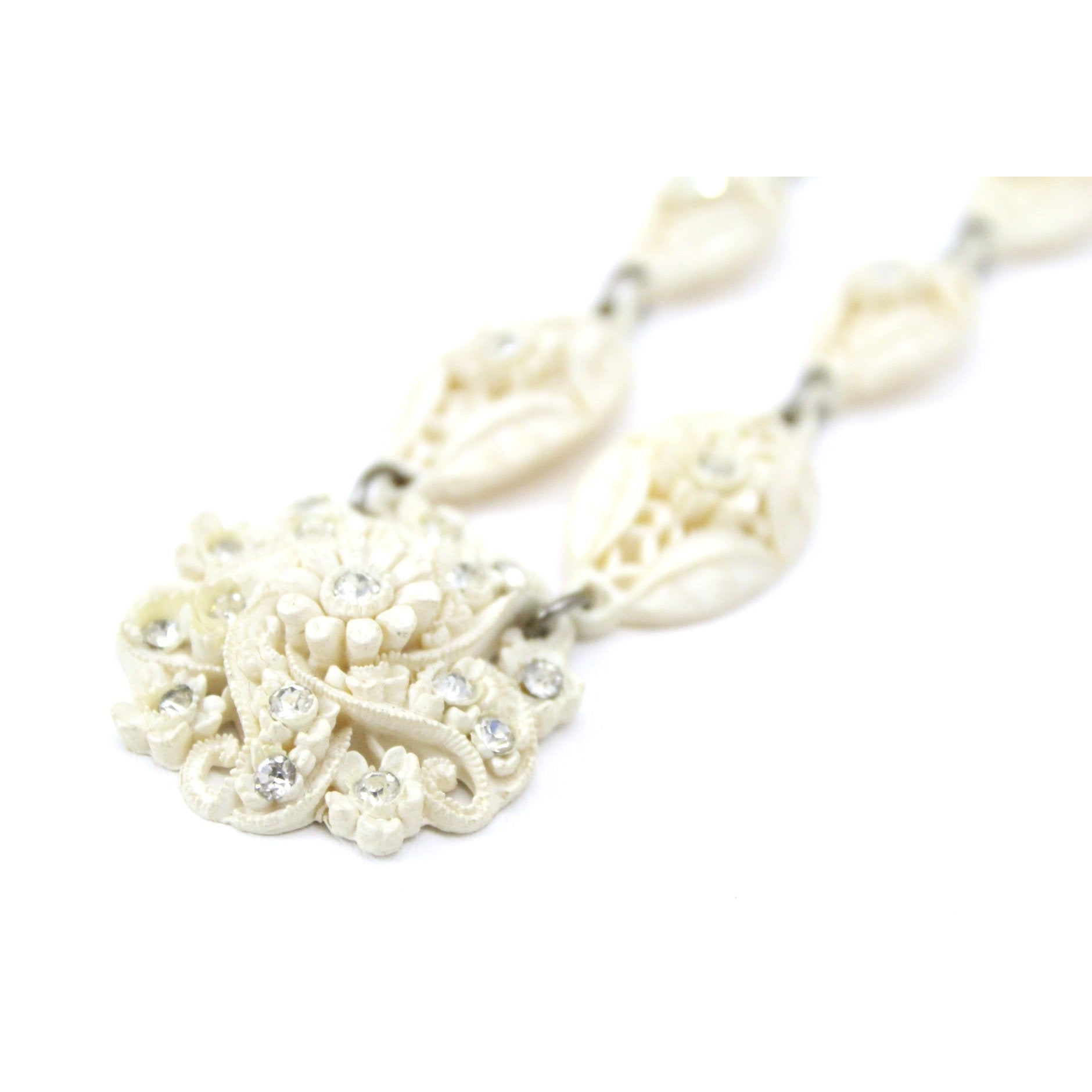 Vintage Carved Pierced Ivory Celluloid Necklace 1930s Rhinestones Flowers Wedding