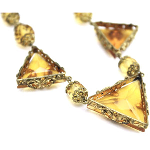 "Antique 1920s Art Deco Necklace Demi Parure Amber Yellow Glass Stones Triangle Cut Brass Filigree 16"" Flapper"