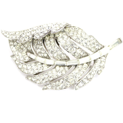 VINTAGE Trifari 'Alfred Philippe' Pave and Baguettes Rhodium 1950s Curling Leaf Pin 2""