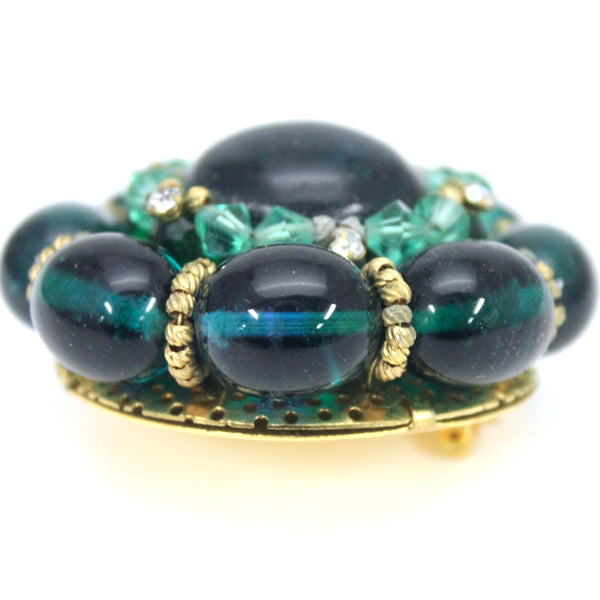 "Rare Vintage Green Cabochon Round Brooch 1940s Large 2"" Old Hollywood Statement"
