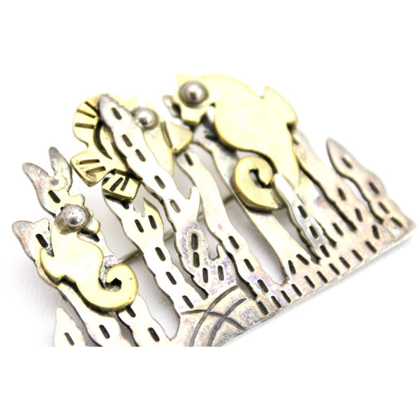 Vintage Mexico Sterling Brooch Signed TA-142 Undersea Garden Seahorses Modernist Sculptural 1 3/4""