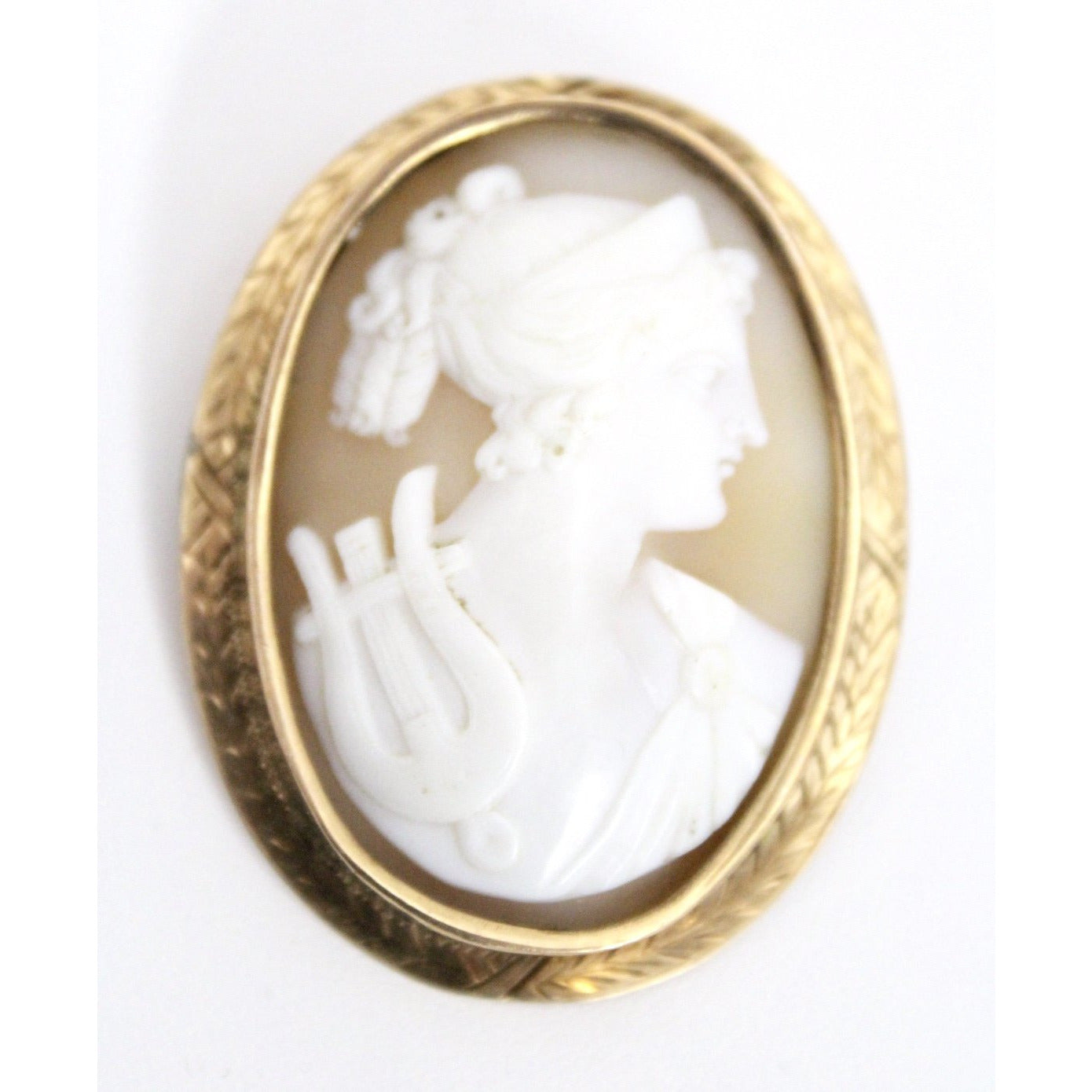 "Shell Cameo ""Orpheus"" w/Lyre Brooch 10K Yellow Gold 1837-1910 Large 2""  8 Grams"