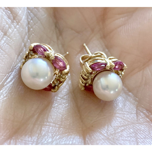 VTG Cultured Pearl, Ruby and Diamond 14K Earrings Post Stud Pierced 4 Grams