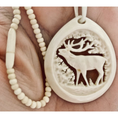 "RARE Vintage Bone Elk Carved Necklace Pendant Bone Beads 1920s 15"" Necklace"
