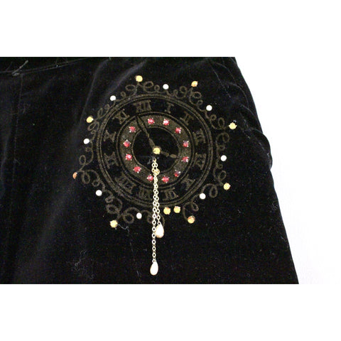 "Fab Vintage womens Velvet High Waist  Pants with CLOCK Painting Jewels 1950s Small 28"" Waist RARE Rockabilly"