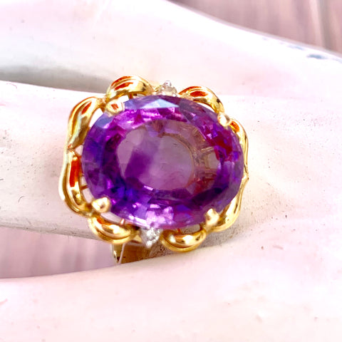 Natural Amethyst Diamonds 14KT Gold Statement Ring Ladies sz 10 1960s Vintage