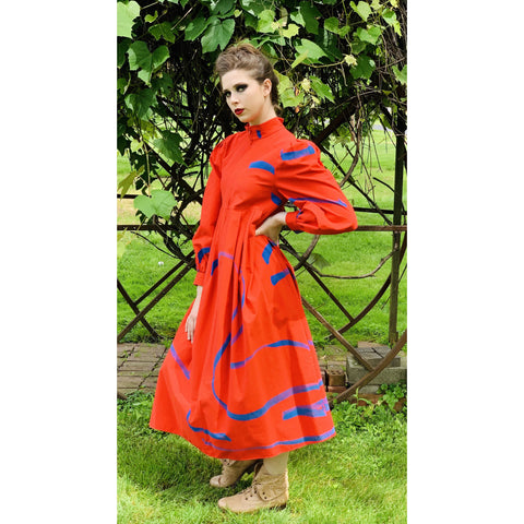 Vintage Vuokko Dress Bright Red Blue Abstract Print XXS Cotton 1970s