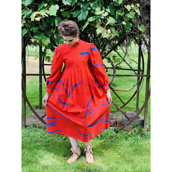 Vintage Vuokko Womens  Dress XXS Bright Red Blue Abstract Print Cotton 1970s