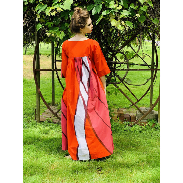 Vintage Marimekko  Gown Red Pink Cotton 1970s Heavy Cotton XS Womens Dress