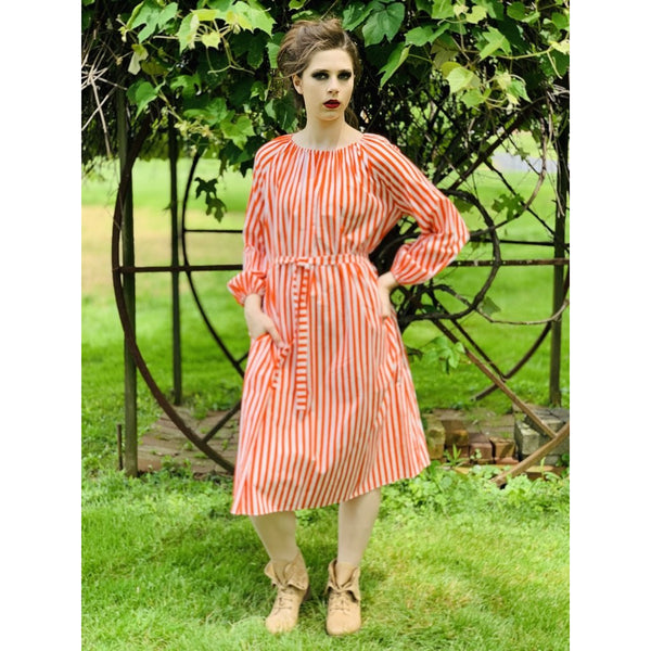 Vintage Vuokko Jokapoika STRIPED Dress Orange White Cotton 1970s Small