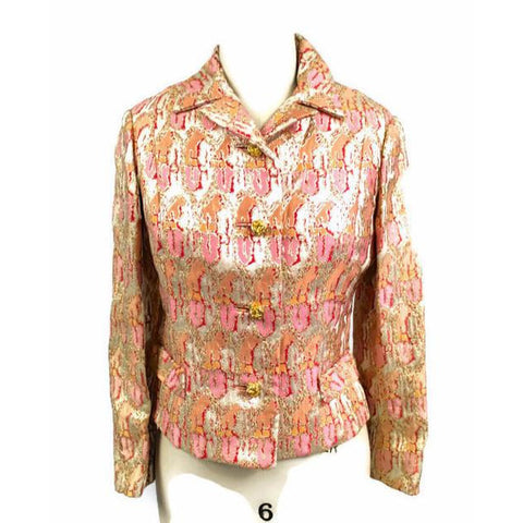 Gino Charles Vintage 60s  Designer Cocktail Jacket Pink Orange Sherbet Colors & Gold Metallic 10