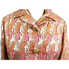 Gino Charles Vintage 60s  Designer Cocktail Jacket Pink Orange Sherbet Colors & Gold Metallic 10 - The Best Vintage Clothing  - 2
