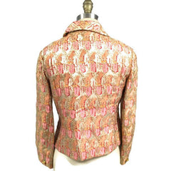 Gino Charles Vintage 60s  Designer Cocktail Jacket Pink Orange Sherbet Colors & Gold Metallic 10 - The Best Vintage Clothing  - 8