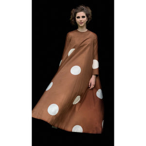 Vuokko 1970 Pallo Annika RImala Vintage Tent Gown Cotton Brown and White Polka Dot Sz 38