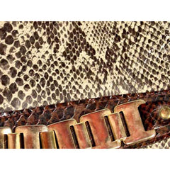 Vintage Ladies Mr. John Jr Faux Snakeskin Hat & Purse 1970S Brown - The Best Vintage Clothing  - 5