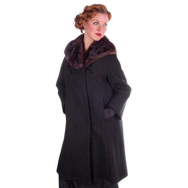 Vintage Wool Sack Coat Black & Brown Print Sterling Lindner 1950S 44 Bust - The Best Vintage Clothing  - 2