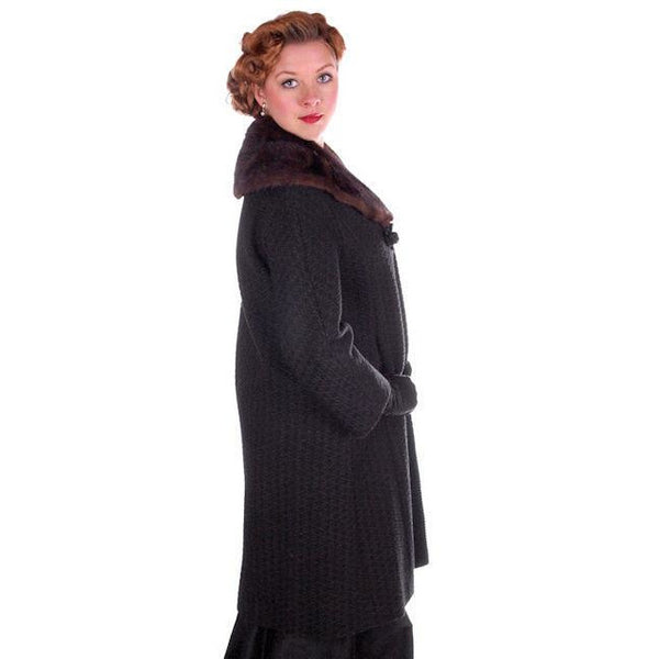 Vintage Wool Sack Coat Black & Brown Print Sterling Lindner 1950S 44 Bust - The Best Vintage Clothing  - 3