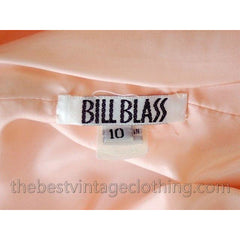 Vintage Bill Blass Dress Peach Pink Silk Huge 1980s Shoulders Sz 10 - The Best Vintage Clothing  - 6