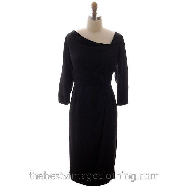 Vintage Black Cocktail Dress Silk Hobble Style 1980s 38-32-43 High End - The Best Vintage Clothing  - 1