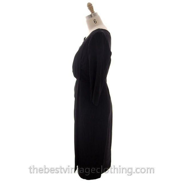 Vintage Black Cocktail Dress Silk Hobble Style 1980s 38-32-43 High End - The Best Vintage Clothing  - 2