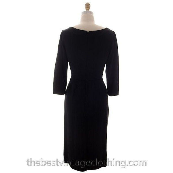 Vintage Black Cocktail Dress Silk Hobble Style 1980s 38-32-43 High End - The Best Vintage Clothing  - 3