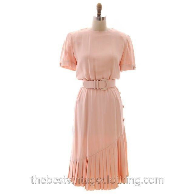 Vintage Bill Blass Dress Peach Pink Silk Huge 1980s Shoulders Sz 10 - The Best Vintage Clothing  - 1